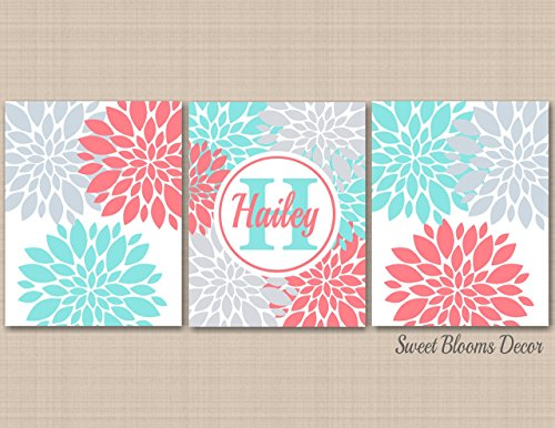 Coral Teal Aqua Gray Nursery Wall Art, Floral Nursery Wall Art,Coral Aqua Nursery Wall Art,Monogram Nursery,Turquoise Nursery Art-UNFRAMED Set of 3 PRINTS (NOT CANVAS)C 421