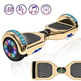 """NHT 6.5"""" Chrome Electric Hoverboard Self Balancing Scooter with Built-in Bluetooth Speaker LED Lights - UL2272 Certified (Chrome Gold)"""