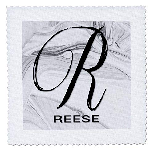 3dRose BrooklynMeme Monograms - White Marble Monogram R - Reese - 10x10 inch quilt square - Quilt Reese