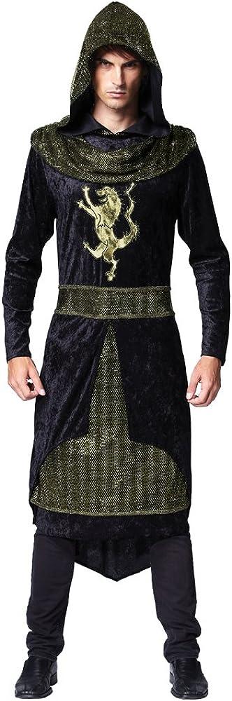 Para hombre Negro medieval Sheriff de Nottingham Robin Hood Knight Película Libro Día Semana Histórico Disfraz Outfit