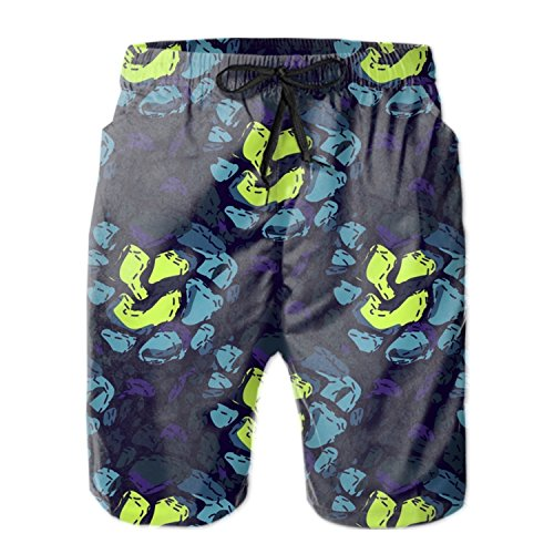 HHNYL Colored Stones Swim Trunks Board Shorts Quick Dry Beachwear Bathing Suits for Men