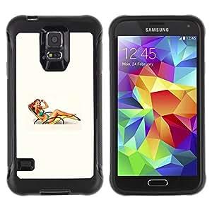 "Pulsar iFace Series Tpu silicona Carcasa Funda Case para Samsung Galaxy S5 V , Cátedra Mujer Chica Beach Pin encima del arte retro"""