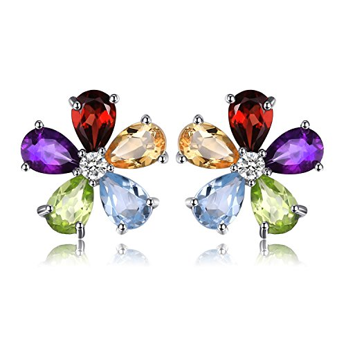 JewelryPalace Flower Round Genuine Taupe Smoky Quartz Black Spinel Multicolor Natural Amethyst Citrine Garnet Peridot Blue Topaz Created Ruby Stud Earrings 925 Sterling Silver