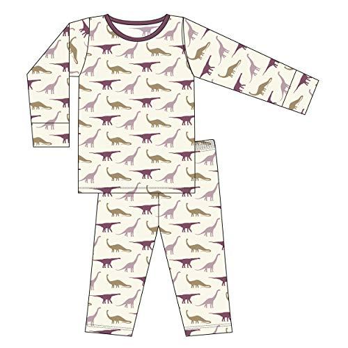 Kickee Pants Little Girls Custom Print Long Sleeve Pajama Set - Natural Sauropods with Amethyst, 5 Years