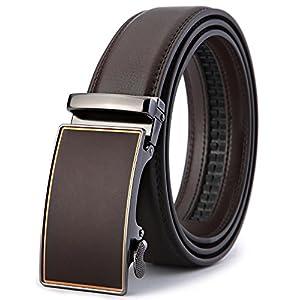 "BULLIANT Men Belt, Leather Ratchet Belt for Men with Sliding Buckle 1 3/8"" In Gift Box, Trim to Fit. (34-41in, dark brown02)"