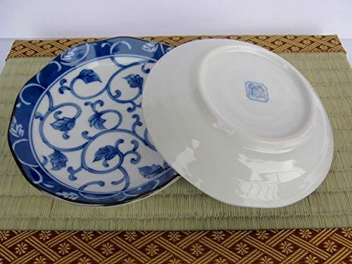 Japanese Ceramic plate Dami blue karakusa sushi sauce 5.3 x 1,Set of 2 appetizer dessert