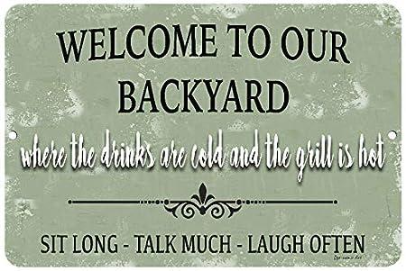 Cartel de bienvenida de metal con texto en inglés Welcome to ...