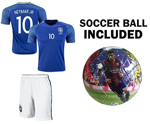 Neymar Jersey #10 Brazil Youth Home/Away Kids Neymar JR Soccer Jersey + Shorts + Neymar Soccer Ball Size 5 Premium Soccer Gift Brasil Futbal (Youth Large 10-13 Years, Away/Ball ()