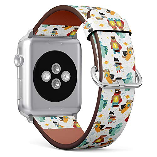 (Funny Pattern with Animals Costume Superhero) Patterned Leather Wristband Strap for Apple Watch Series 4/3/2/1 gen,Replacement for iWatch 38mm / 40mm Bands -