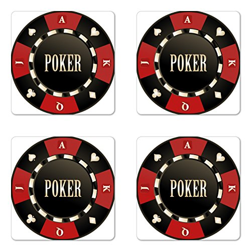 (Lunarable Poker Tournament Coaster Set of Four, Casino Chip with Poker Word in Center Rich Icon Card Suits Print, Square Hardboard Gloss Coasters for Drinks, Vermilion Army Green)