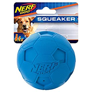 Nerf Dog Soccer Ball Dog Toy with Interactive Squeaker, Lightweight, Durable and Water Resistant, 3.25 Inches, For Small/Medium/Large Breeds, Single Unit, Blue, Model Number: 2171