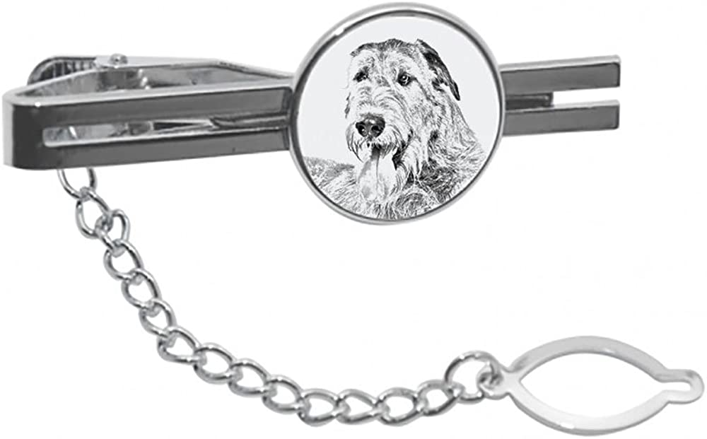 Irish Wolfhound, tie pin, Clip with an Image of a Dog, Elegant and Casual Style