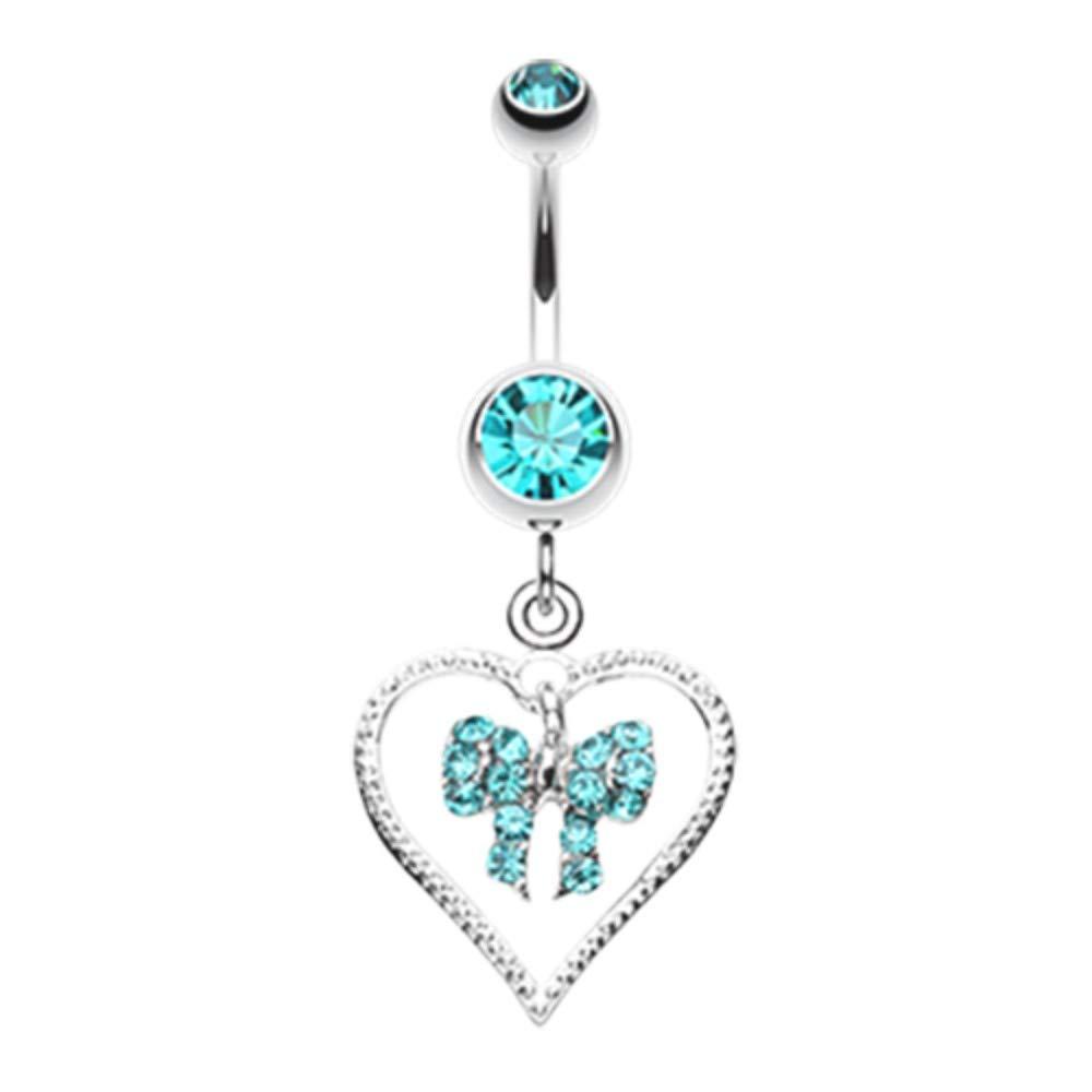 14 GA Glam Bow-Tie in Heart Dangle Belly Button Ring Davana Enterprises
