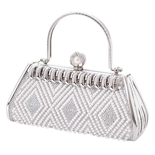 Women's Vintage Evening Bag Clutch Pearl Beaded Rhinestone Handbag Purse Bridal Prom Wedding Party Bags