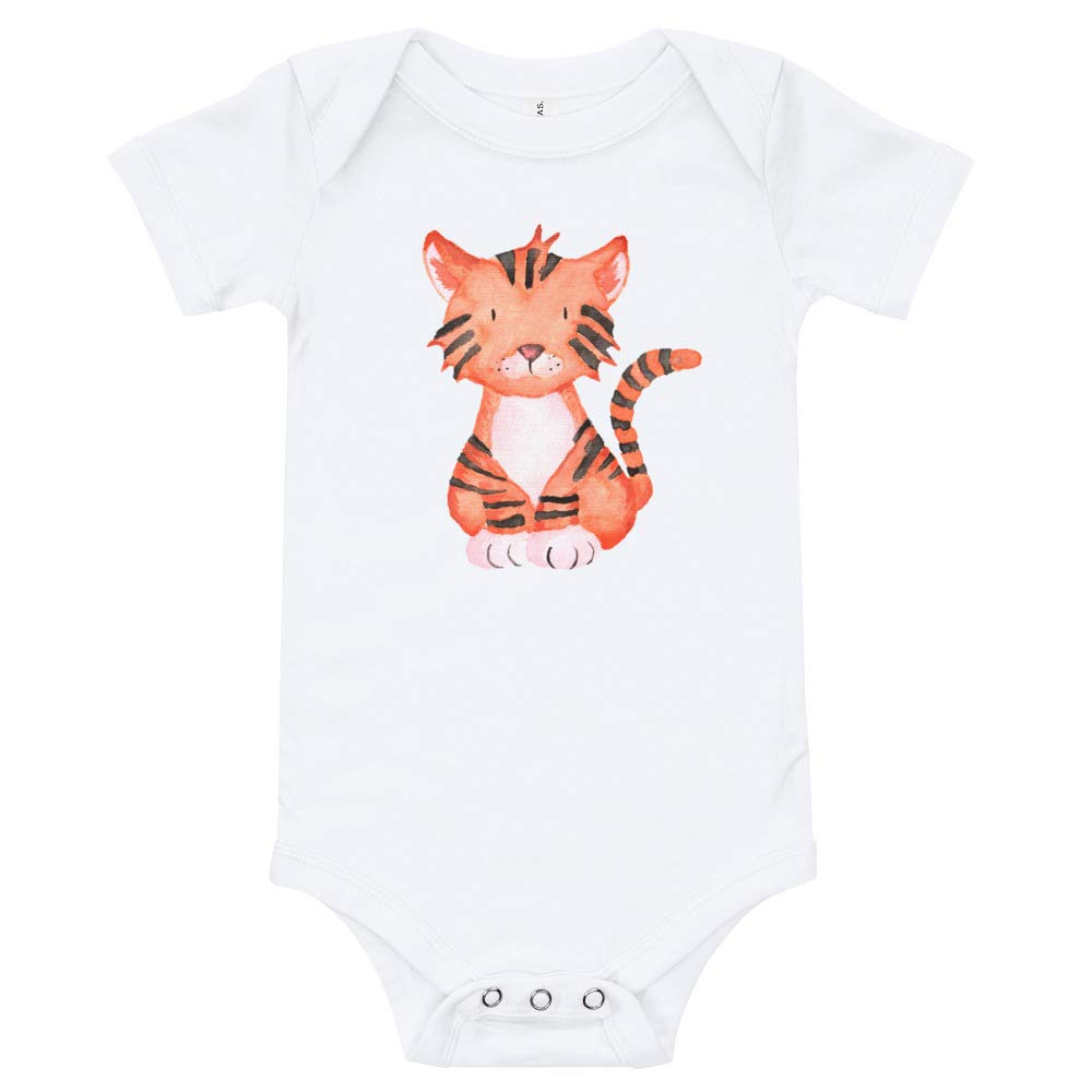 White T-Shirt Tige,r Drawing Happy Lazy Shade Watercolor Onesie Newborn