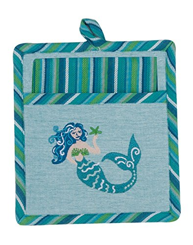 Mermaid Coastal Embroidered 2 Piece Pocket Mitt with Tea Tow