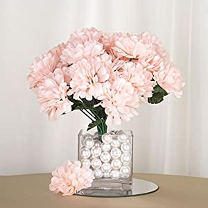 BalsaCircle 84 Blush Silk Chrysanthemums - 12 Bushes - Artificial Flowers Wedding Party Centerpieces Arrangements Bouquets 54