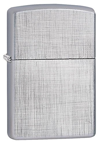 Brushed Chrome Butane Lighter (Personalized Message Engraved Customized Gift For Him For Her Brushed Chrome Linen Weave Classic Zippo lIghter Windproof)