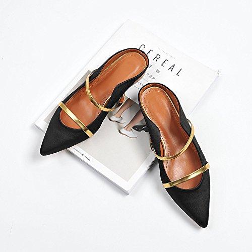 Punta versátil de Müller y 37 Banda de y de seda dama satén de Bajo luz negro mujer zapatos elegante hembra 0gn7Aqf