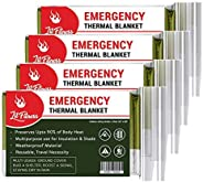 LIT FITNESS Emergency Blankets (Pack of 4) Thermal Blankets, Space Blanket Designed for Outdoors, Hiking, Surv