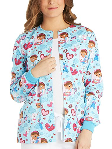 (Tooniforms by Cherokee Women's Snap Front Doc McStuffins Print Warm-Up Jacket XXX-Large Print)
