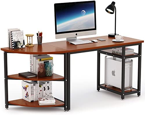 Computer Desk with Storage Shelves, LITTLE TREE 47 inch Gaming Desk 23 inch Arch Corner Shelf, Writing Office Desk Workstation Table for Home Office, Free-Combination 2 Piece
