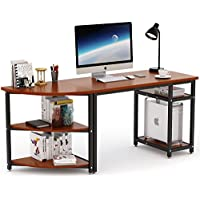 "70 Computer Desk with Bookshelf , LITTLE TREE Modern 47"" Office Desk & 23"" Arch Corner shelf, Free-combination 2 Piece Study Writing Workstation Table for Home Office, Thicken Wood & Metal, Cherry"