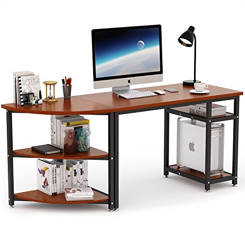 70 Computer Desk With Bookshelf LITTLE TREE Modern 47 Office 23 Arch Corner Shelf Free Combination 2 Piece Study Writing Workstation Table For