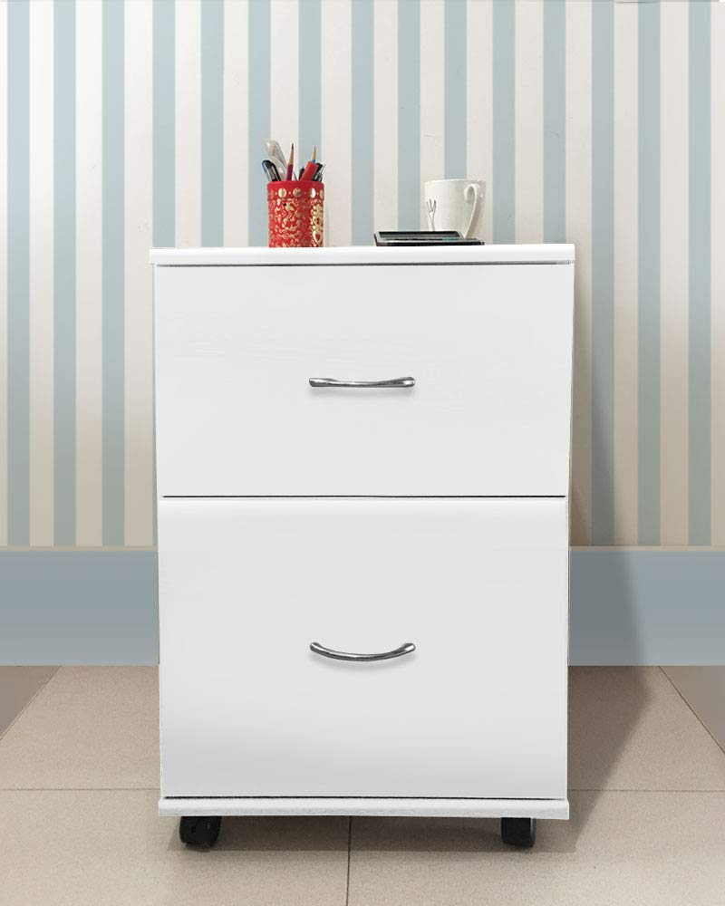 GB Furniture White Home Office Mobile 2 Drawers Pedestal Cabinet Silver Handle
