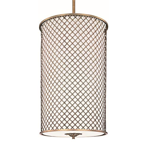 Maxim 22368OMNAB Manchester 6-Light Entry Foyer Pendant, Natural Aged Brass Finish, Glass, MB Incandescent Bulb , 100W Max., Damp Safety Rating, Standard Dimmable, Glass Shade Material, 2300 Rated Lumens