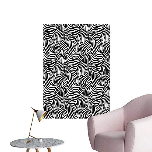 Anzhutwelve Stripes Photographic Wallpaper African Zebra Skin Pattern with Abstract Lines Monochrome Wild Animal Hide DesignBlack White W20 xL28 Wall Poster