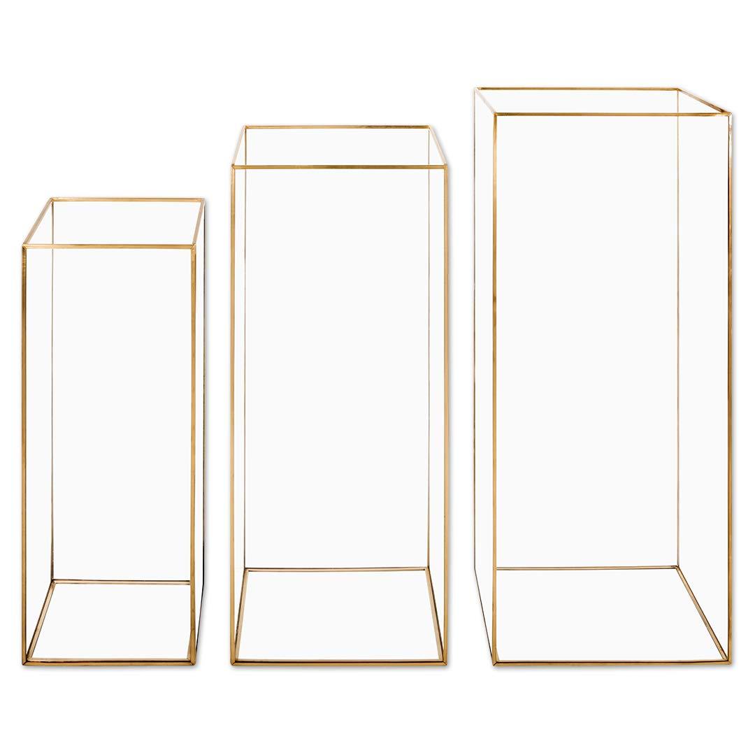 Koyal Wholesale Geometric Hurricane Candle Holder Set of 3 for Wedding Centerpiece, Table Decorations, Home Decor, Patio Decor (L Gold)