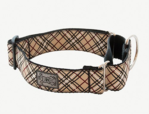 RC Pet Products 1-1/2-Inch All Webbing Martingale Dog Collar, Small 9 to 14-Inch, Tan Tartan