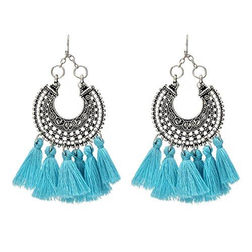 Shining Diva Fashion Blue Oxidised Silver Tassel Stylish Fancy Party Wear Earrings for Women & Girls (9044er)