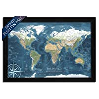 World Map Push Pin - Mounted on Pin Board and Framed - The Voyager 2 World Map - Designed by a Professional Geographer