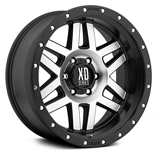 XD Series by KMC Wheels XD128 Machete Satin Black Wheel with Machined Face and Black Reinforcing Ring (17x9