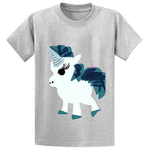 Price comparison product image Chas U Is For Unicorn Cartoon Kid's Crew Neck Cotton Shirts Grey