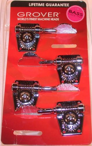 Grover Vintage Bass Machine Heads (142C Series), 2 Treble and 2 Bass, Set 0f 4, Chrome Finish
