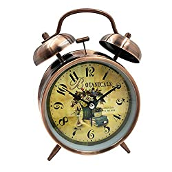 Loud Alarm Clock Hippih 4 Non-ticking Quartz Analog Vintage Desk Clock with Backlight and Battery Operated for Heavy Sleepers, Kids Bedroom (Botanicals Red)