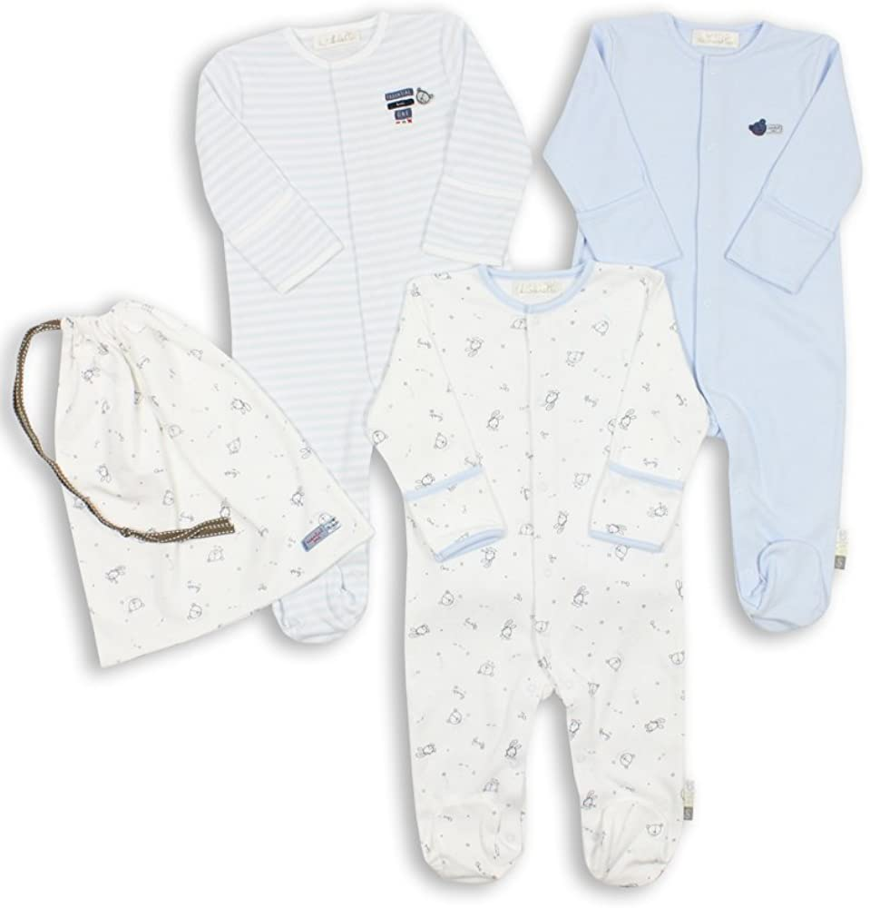 Baby Boy Pack of 3 Blue Sleepsuits ESS73 The Essential One