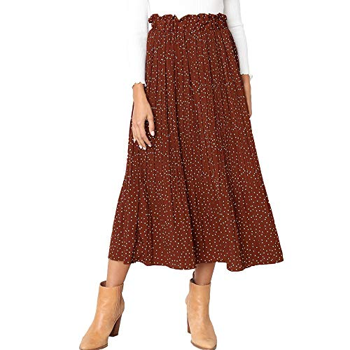 Exlura Womens High Waist Polka Dot Pleated Skirt Midi Swing Skirt with Pockets Coffee