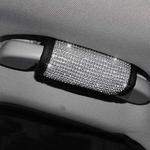 LEIWOOR Bling Rhinestones Crystal Car Seat Belt Cover Shoulder Pads Car Shifter Gear Hand Brake Covers Auto Interior Accessories (Handle_Cover)