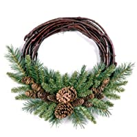 National Tree 16 Inch Pine Cone Grapevine Wreath (PC-16GV-1)