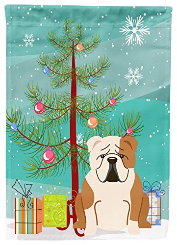 Caroline's Treasures BB4250GF Merry Christmas Tree English Bulldog Fawn White Garden Flag, Small, Multicolor