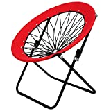 Story@Home Folding Light Weight, Portable, Indoor Outdoor Lawn Round Bungee Dish Chair-Red