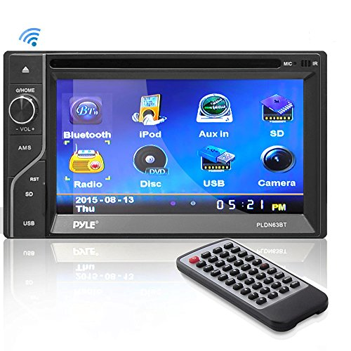 Upgraded Pyle Double Din Touchscreen | DVD CD Player | Bluetooth Handsfree Calling | 6.5 In LCD Monitor | USB/Micro SD Card Slot | AM FM Radio | RCA To AUX Input | Remote Control Included (PLDN63BT) (Touch Screen Pyle Car Stereo)