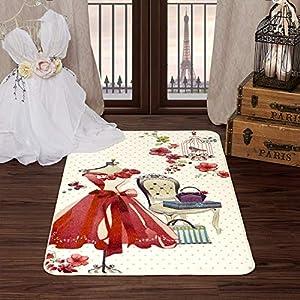 Evolur Home Pink Dress Vanity Nursery Bedroom/Livingroom/BabyPlaymat/ChildrensRug/PlayRug/KidsRug/Floormat Rug 55'x31.5'