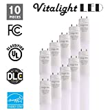 (10 Pack) Plug and Play - T8 LED Light Tube, 4FT, 18W (40W Replacement), 4000K (Cool White), 2400lm, Frosted Cover, Dual-End Powered, Works with/Without Ballast, Shatterproof, UL & DLC