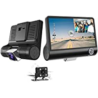 Car Dash Cam - 1080P HD 3 Channel Car Dashbord Camera, 140 Degree Wide Angle Car Recorder with 4 IPS Display, G-Sensor, HDR, Loop Recording, Motion Detection