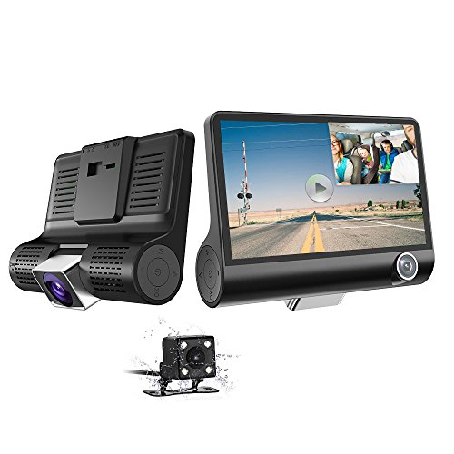 Car Dash Cam - 1080P HD 3 Channel Car Dashbord Camera, 140 Degree Wide Angle Car Recorder with 4